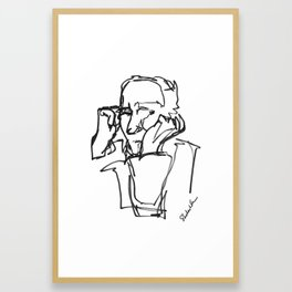 Portrait of a Man, Continuous Line Drawing in Black and White Framed Art Print