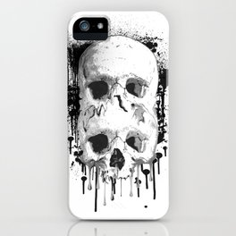 Skull Drip Black Ink iPhone Case