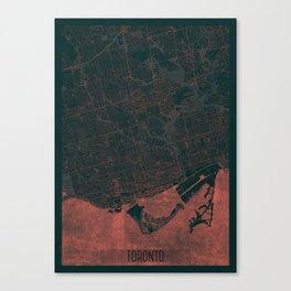 Toronto Map Red Canvas Print