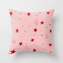 Stars, trees & snow - Pink Throw Pillow