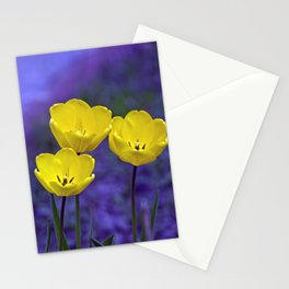 Yellow and purple tulips Stationery Cards
