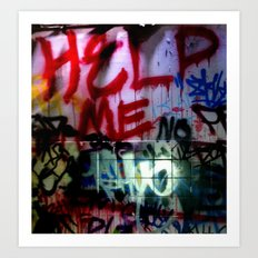 help me graffitti Art Print