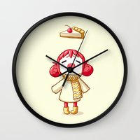 pie Wall Clocks featuring Cherry Pie by Freeminds