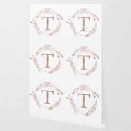 Letter T Rose Gold Pink Initial Monogram Wallpaper