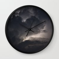 lightning Wall Clocks featuring Lightning by Nick Douillard
