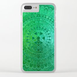 Green Mandala Circle Clear iPhone Case