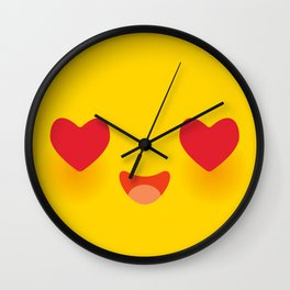 Kawaii funny muzzle in love with pink cheeks and big Red heart eyes Cute Cartoon Face on yellow Wall Clock