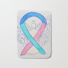 Thyroid Cancer Awareness Ribbon Angel Art Bath Mat
