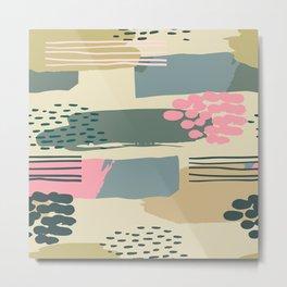 Tropical Painting in Earthtones: Muted Greens & Aqua Metal Print