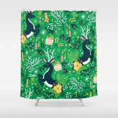 Festive Deer Shower Curtain