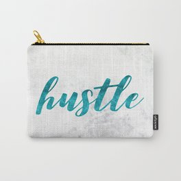 Blue Hustle Text Marble Carry-All Pouch