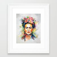 woman Framed Art Prints featuring Frida Kahlo by Tracie Andrews