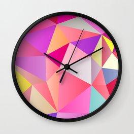 Pink Polygons Wall Clock