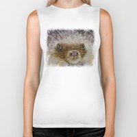 hedgehog Biker Tanks featuring Hedgehog by Michael Creese