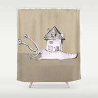snail Shower Curtains featuring Snail by Bwiselizzy