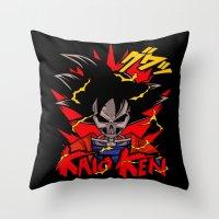 dbz Throw Pillows featuring Goku Skull DBZ by offbeatzombie