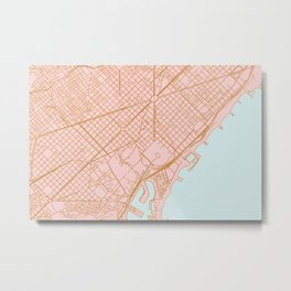 Barcelona map, Spain Metal Print