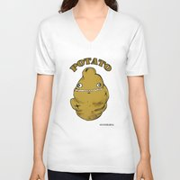 potato V-neck T-shirts featuring POTATO  by Michelena