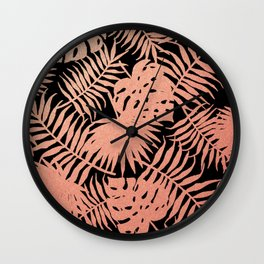 Rose God Tropical Palm Leaves on Black Wall Clock