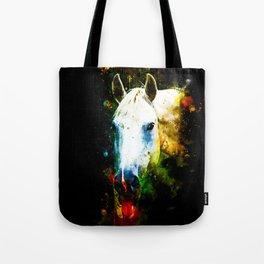 white horse face portrait watercolor splatters Tote Bag