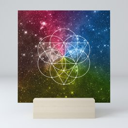 Seed of Life with Triangles - Sacred Geometry - Rainbow Colors - Galaxy Art - Universe - Yoga - Mini Art Print