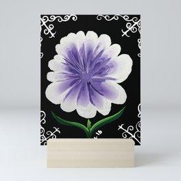 Large Flower Filigree Scroll Floral Art Acrylic Painting Purple Flower Mini Art Print
