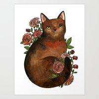Cat & Roses Art Print