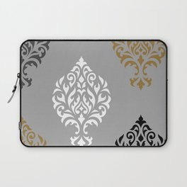 Orna Damask Art I BW Grays Gold Laptop Sleeve