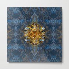 Decorative Gemstone Sacred Geometry Flower of life Metal Print