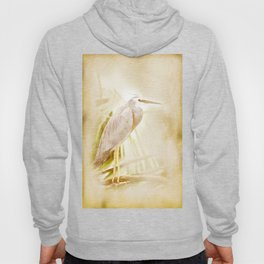Antique style blue heron on textured background Hoody