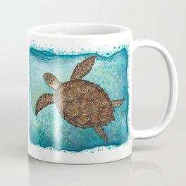"""Hawksbill Sea Turtle"" by Amber Marine ~ Watercolor & Sea Salt Painting, (Copyright 2016) Coffee Mug"