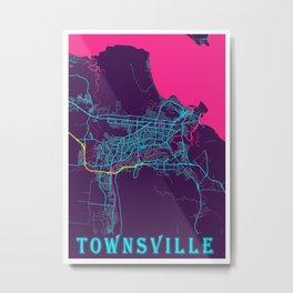 Townsville Neon City Map, Townsville Minimalist City Map Art Print Metal Print