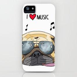 I love music-rock pug iPhone Case