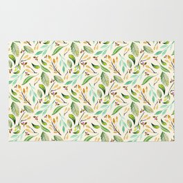 Hand painted green purple watercolor leaves botanical floral Rug