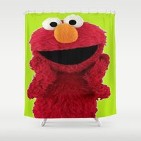 duvet cover Shower Curtains featuring ELMO DUVET COVER by aztosaha