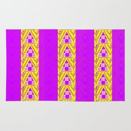Purple and Yellow Patterns and Stripes Rug