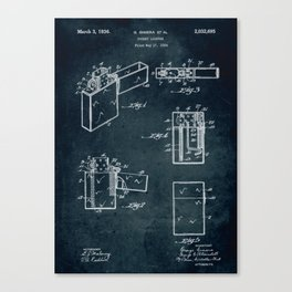 1934 - Pocket lighter patent art Canvas Print