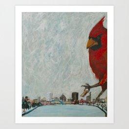 Gigantic Cardinal Attacks Downtown Rochester, New York Art Print