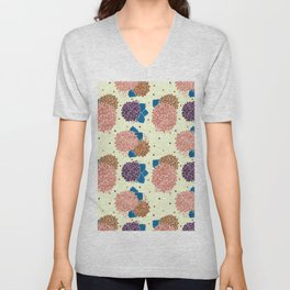 Watercolor coral brown blue hand painted floral polka dots Unisex V-Neck