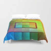 aperture Duvet Covers featuring Aperture #3 Vibrant Fractal Pleat Texture Design by CAP Artwork & Design