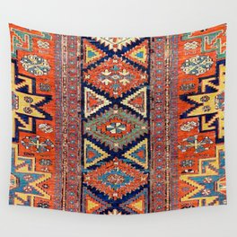 Southwestern Farmhouse II // 19th Century Colorful Red Yellow Blue Green Aztec Farm Stars Pattern Wall Tapestry