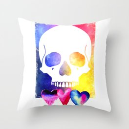 Colorful Skull for Day of Dead Halloween Design Throw Pillow