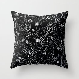 White ink, black card board. Graphic art, ink spring flowers Throw Pillow
