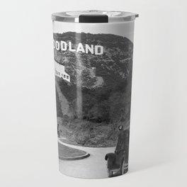 Old Hollywood sign Hollywoodland black and white photograph Travel Mug
