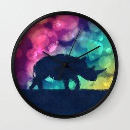 Pop Art Rhinoceros Wall Clock