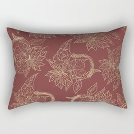 Elegant burgundy chic faux gold floral Rectangular Pillow
