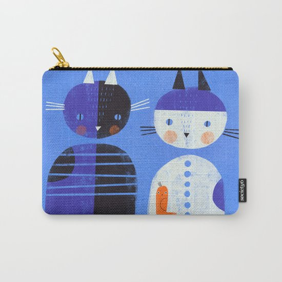 BLUE CATS ORANGE BIRDS Carry-All Pouch