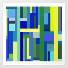 Abstract Blue Lime Pattern Art Print