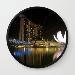 Night photograph of the Marina Bay Sands Hotel in Singapore Wall Clock