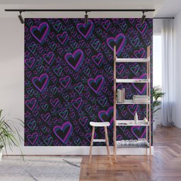 Double vision. Psychedelic pink hearts and stars cute feminine design. Wall Mural
